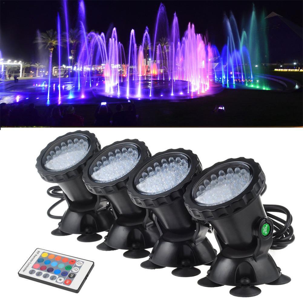 4 pçs/lote 8 W 36 LED RGB Underwater Spot Light Com Controle Remoto À Prova D Água Jardim Fonte Pond Lâmpada Tanque Do Aquário UE/EUA Plug