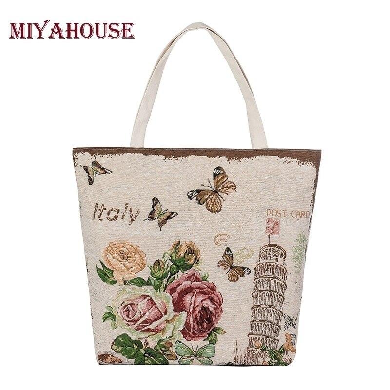 Miyahouse, gran oferta, bolso estampado de mariposa, bolso de playa femenino, bolso de lona para mujer, bolso Floral, Bolso tipo shopper de gran capacidad