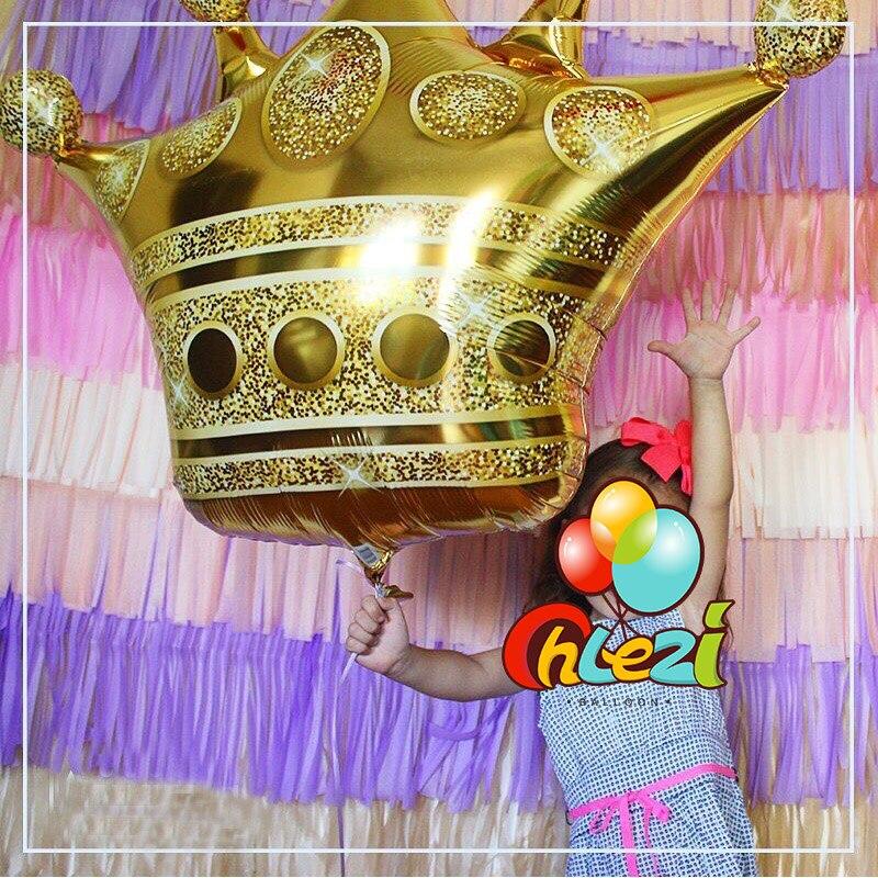 الجملة 50 قطعة من الذهب الكبير ولي العهد احباط بالونات الأمير الأميرة استحمام الطفل عيد ميلاد العازبة زينة للحلوى الجدول