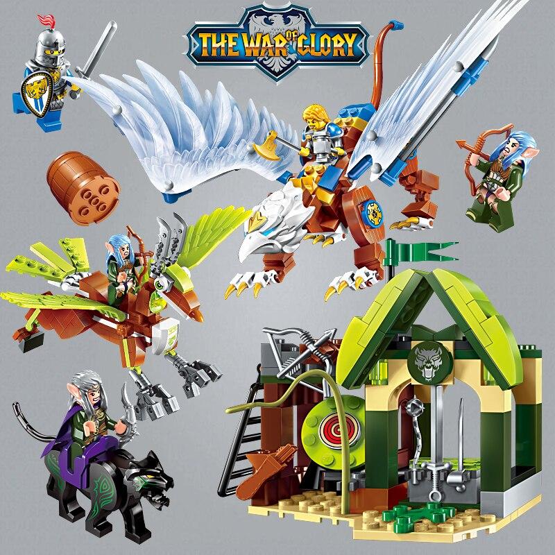 Juguetes de bloques de construcción educativos Enlighten Glory War para regalo de niños, Arma de héroes de Caballero del Castillo, Elfin Griffin Elk