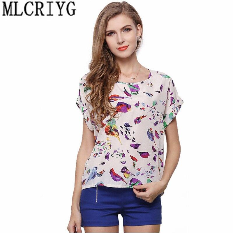 Blusa informal de chifón de manga corta para verano 2019, blusas a la moda con estampado para mujer, blusas para mujer YQ087
