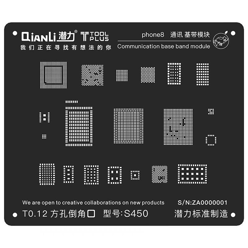 Plantilla de soldadura para Plantilla de Reballing de acero negro BGA para iPhone 8/7/6 S/6/5S Módulo de banda base de comunicación Red para soldar