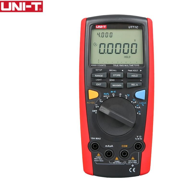UNI-T UT71C multimètre numérique Intelligent véritable RMS Max affichage 39999 volts ampères Ohm testeur de température de capacité transfert de données USB