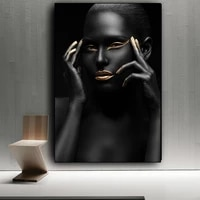 african art nude woman black gold wall art canvas painting cuadros nordic wall picture for living room decoration unframed