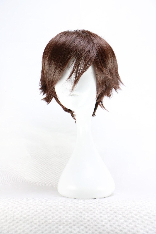 Мужской короткий костюм QQXCAIW, темно-коричневые термостойкие синтетические волосы на 32 см