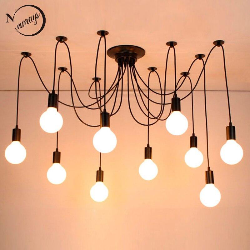 Lámpara colgante clásica negra Industrial araña grande moderna Loft led 14 cabezas E27 luces colgantes para sala de estar restaurantes Cocina