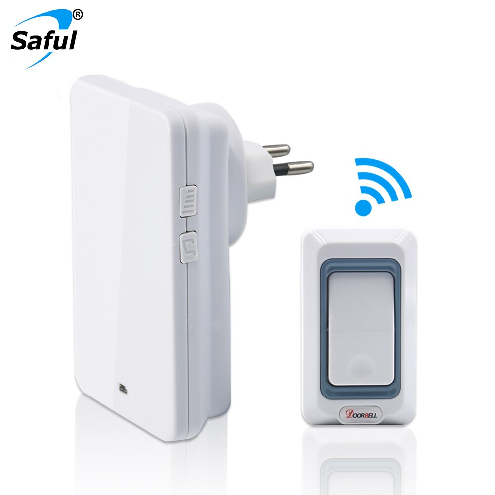 Timbre inalámbrico Saful impermeable luz Led con 28 tonos de llamada con 1 botón + 1 receptor de interior enchufe UE/EE. UU./REINO UNIDO/AU