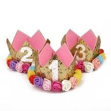 Offre spéciale accessoires de cheveux pour bébé   Tenue pour premier anniversaire 1er, couronne avec prince, fleur, rose, blanc, violet, pour bébé