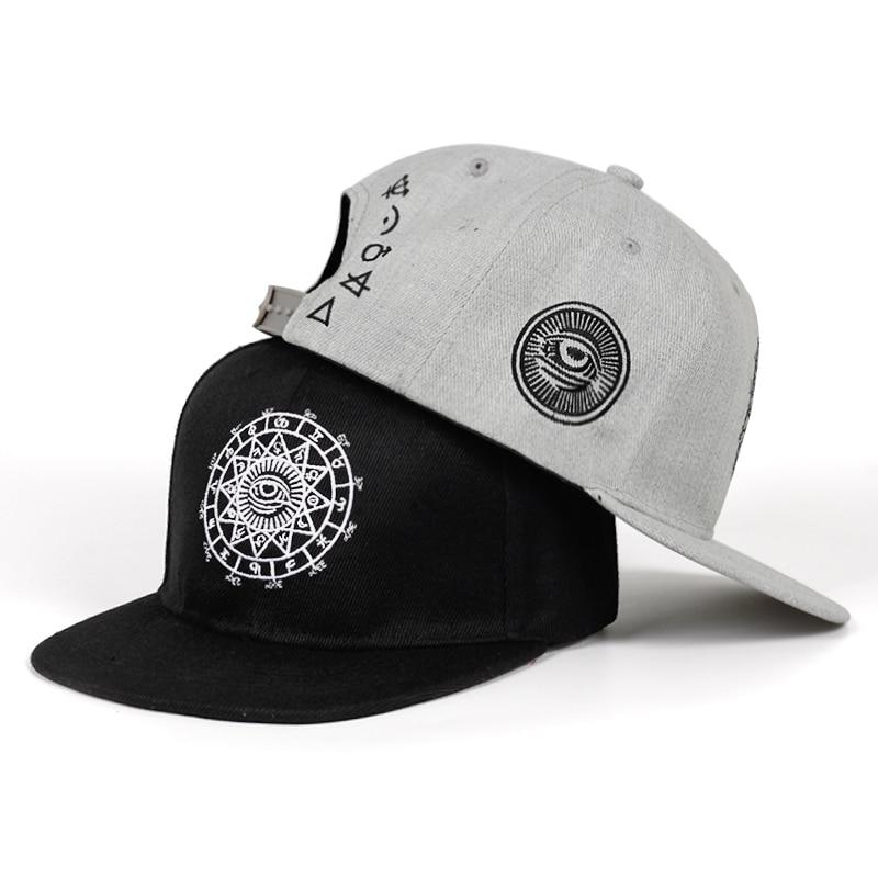 2019 nueva moda Harajuku hombres mujeres Casual sombrero Snapbacks negro gris ojo bordado gorra gorros de hip hop gorras de béisbol Garros