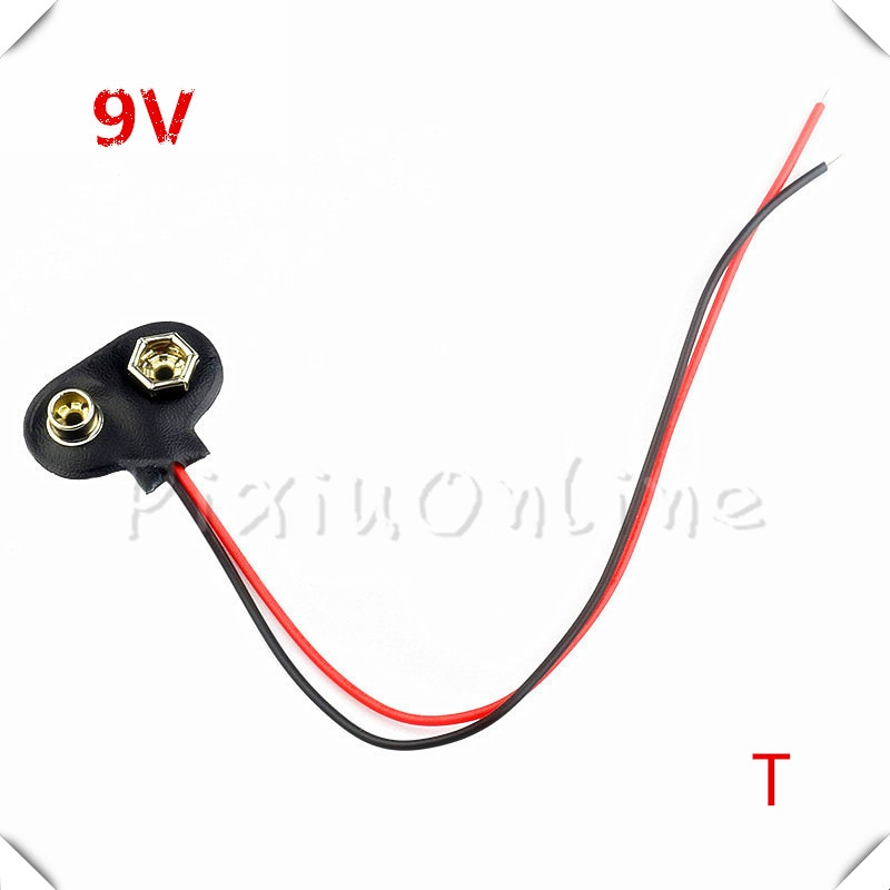 5 piezas ST076 9 V batería hebilla tipo T/I 6F22 batería soporte Cable conector DIY herramienta Línea longitud 15 CM envío gratis