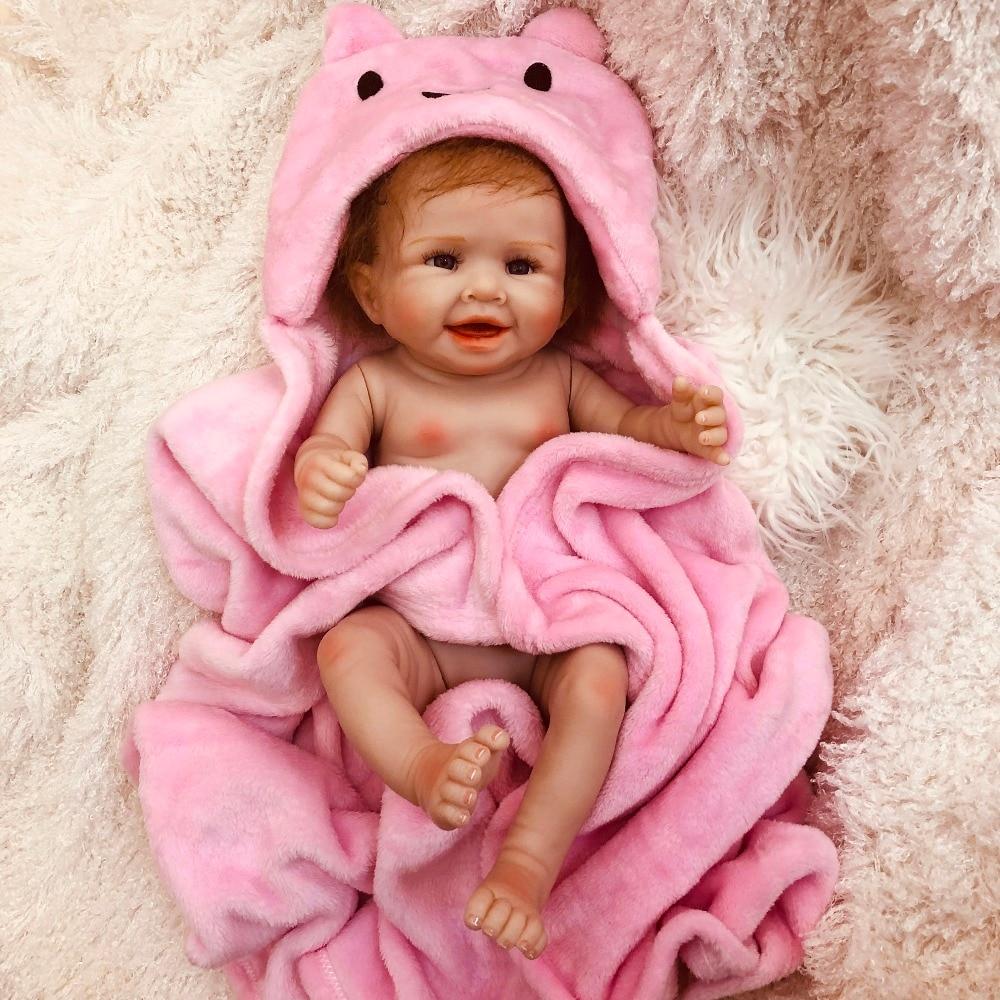 50cm Full Silicone Body Reborn Baby Doll Toy For Girl Vinyl Newborn Princess Babies Bebe Bathe Accompanying Toy Birthday Gift