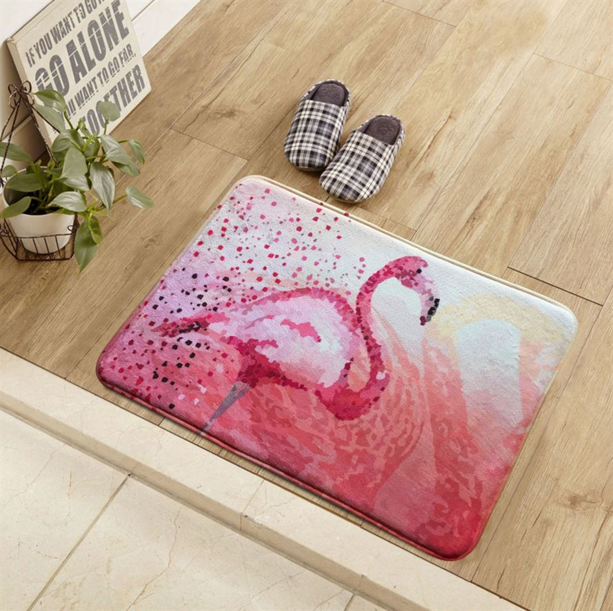 Pink Girlish style Carpet  New Flamingos Print Living room Decor Carpet Kitchen bathroom Non-slip Mat Kids bedroom Entrance Rug
