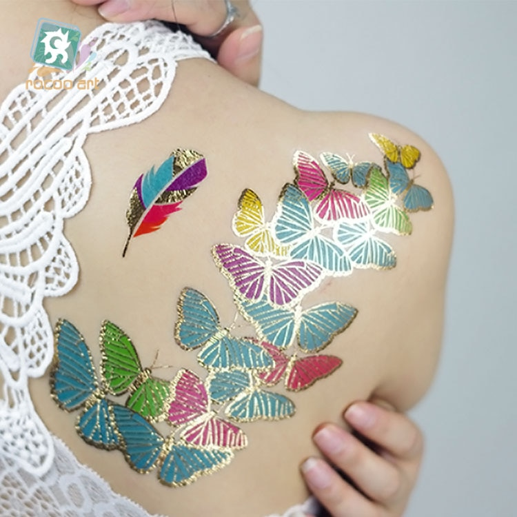 Heißer verkauf Gold Folie Silber Tattoo auf Körper Temporäre Metallic Gefälschte Schmuck Tattoos Haar Körper Blinkende Schmetterling Feder Tattoo