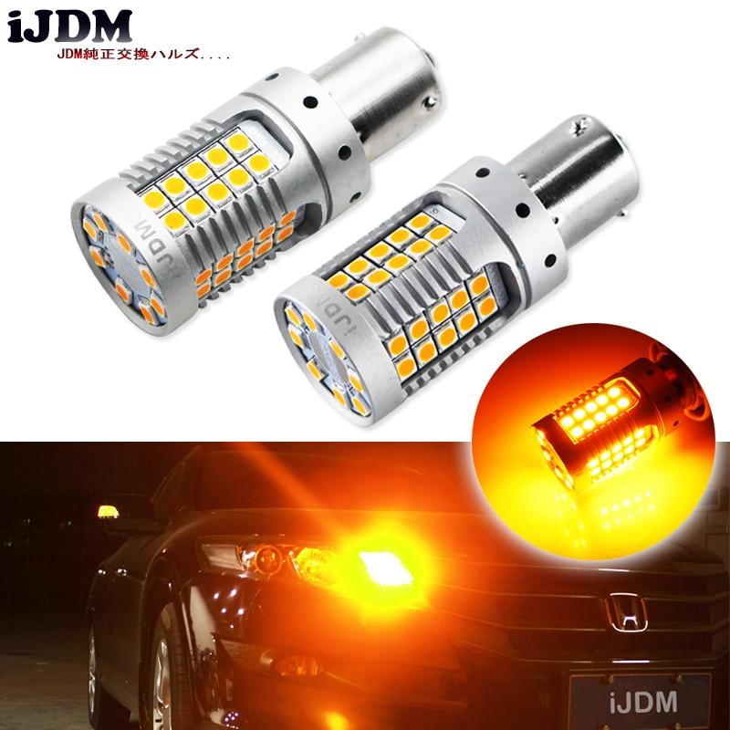 IJDM-لمبات Canbus LED بدون خطأ ، BAU15S ، بدون فلاش ، أصفر كهرماني ، 48-SMD 3030 LED 7507 PY21W ، 4 قطعة