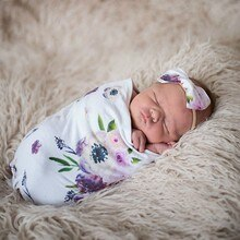 Fashion Baby Swaddling Floral Stripe Printed Hairdband Set born Anti-kick Sleeping Bag Knotted Headband