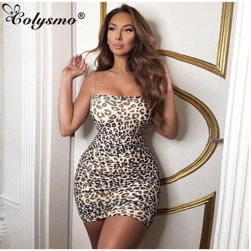 Colysmo 2 capas vestido de verano para mujer 2019 vestido de leopardo sexi sin mangas estampado Bodyocn Vestido Mujer fiesta noche Club vestidos de malla