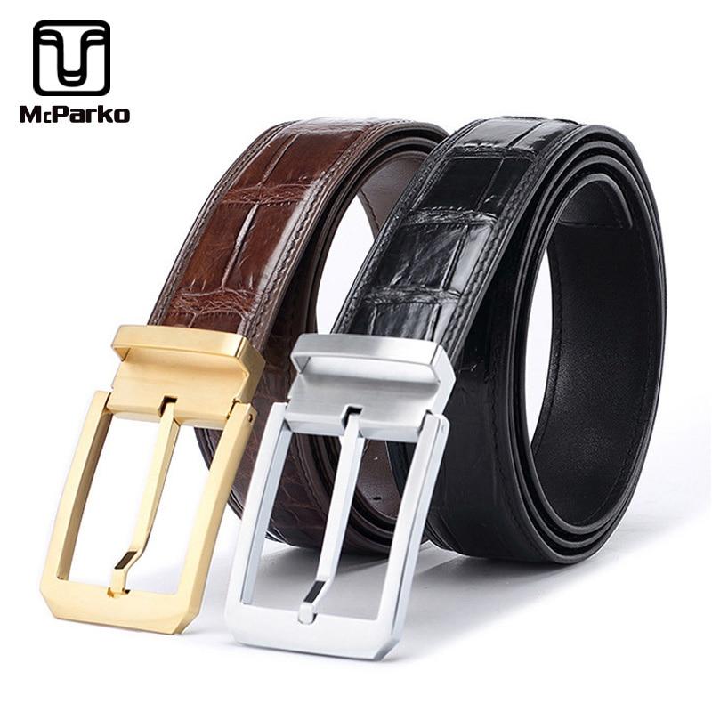 Cinturón Mcparko de piel de cocodrilo con hebilla para hombre, cinturón de negocios para hombre, cinturón de cuero de diseñador de lujo para trajes, pantalón negro