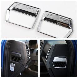 2 pcs Chrome side Air Vent saída Do Interior Do Carro Guarnição da Tampa do Quadro apto Para Ford F-150 F150 2015 2016 2017 Car Styling Acessórios