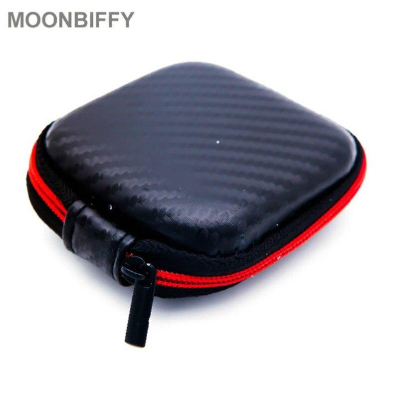 Caja de auriculares con cremallera de fibra de carbono, estuche rígido para auriculares, bolsa de almacenamiento para llevar, bolsa para guardar tarjetas SD, caja de abalorios de PU