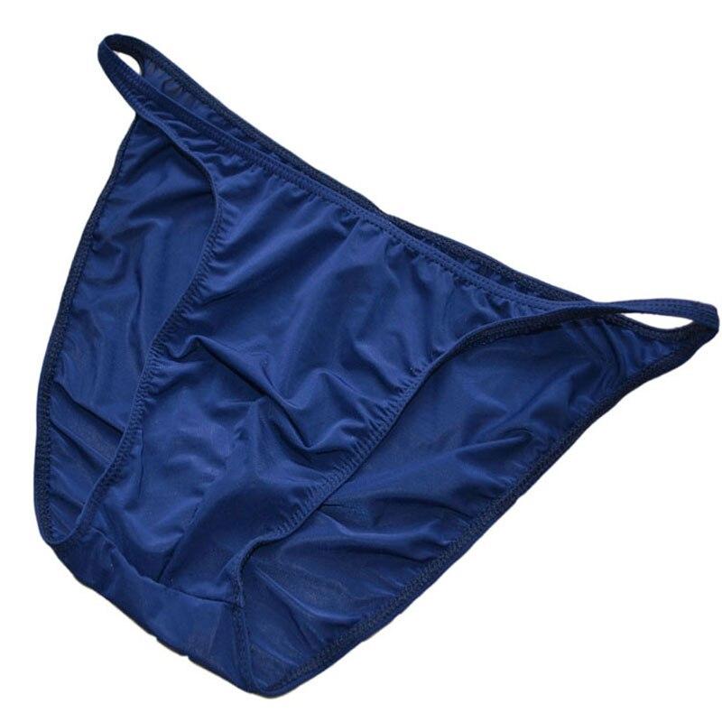 Ropa interior Sexy de seda de hielo calzoncillos masculinos de cintura baja para hombres bragas horquilla viscosa translúcida pantalón breve 12 colores