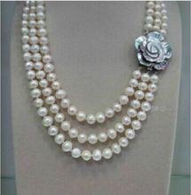 Ddh002039 collar de perlas blancas de Mar Australiano del Sur natural de 8-9mm con tres tiras, 28% de descuento (A0513)