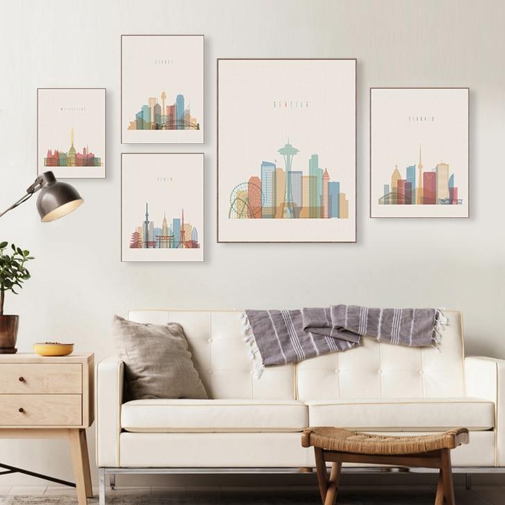 Современный абстрактный мир город Париж Лондон плакаты принты большая стена искусство картина Винтаж ретро гостиная домашний декор холст ...