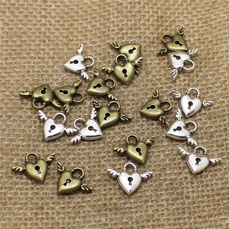 O envio gratuito de 60 pçs 13*18mm antigo cor prata cor liga mini asas coração encantos bloqueio cilindro jóias t0532