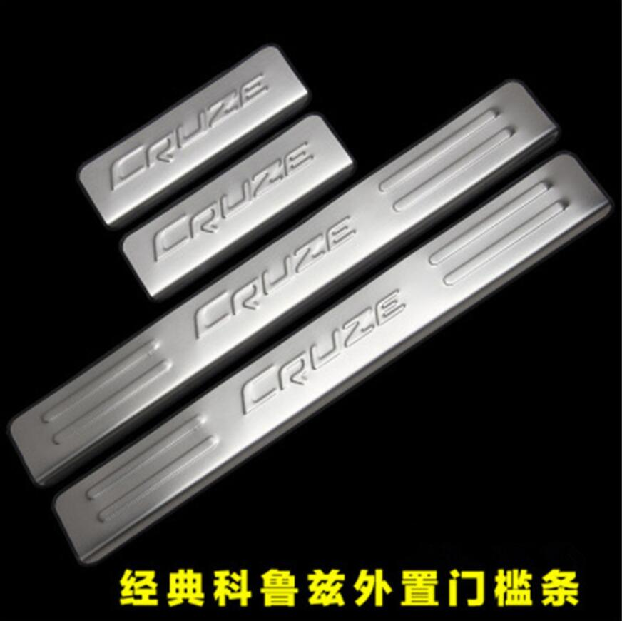 4 PCS Scuff plate Door Sill/Door Rear Bumper Protector Sill Sill Tread Plate Trunk Trim for Chevrolet Cruze 2009-2014