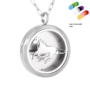IJP0134 Eco-Friendly Stainless Steel Horse Aromatherapy Essential Oil Diffuser Necklace Locket Pendant, 12 Refill Pads