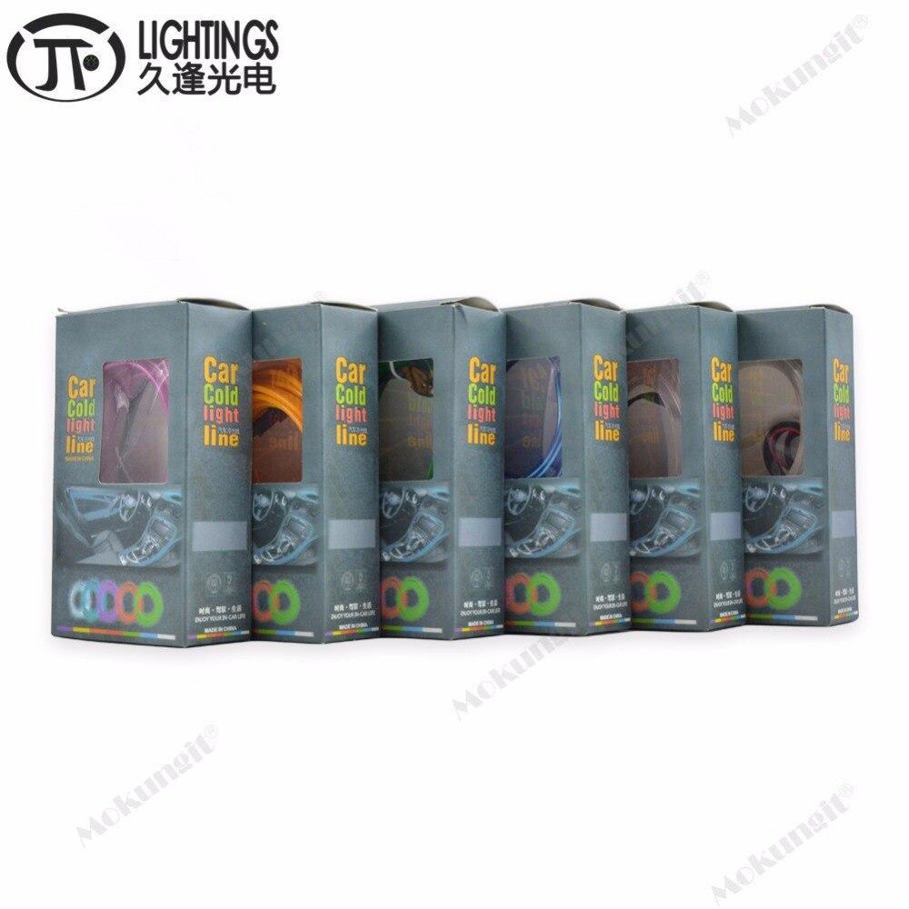 10 Uds 10 colores estilo de coche 5M luz de neón flexible resplandor EL wire Car con 12V luces interiores encendedor DIY decorativo Dash Door