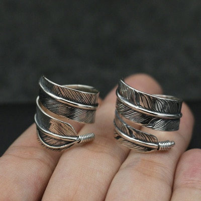Takahashi Kagura Goro Retro Thai Silver Feather Ring Female Handmade Open Ended S925 Sterling Silver Ring Fashion