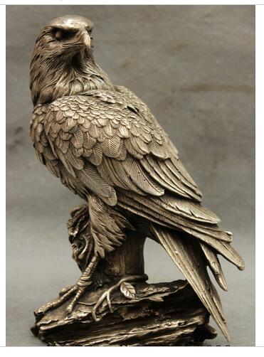 "Decoración cobre plata fábrica lucky 9 ""Casa China Cultue plata Brave Sharp Birds-rey águila en el árbol estatua de bronce"
