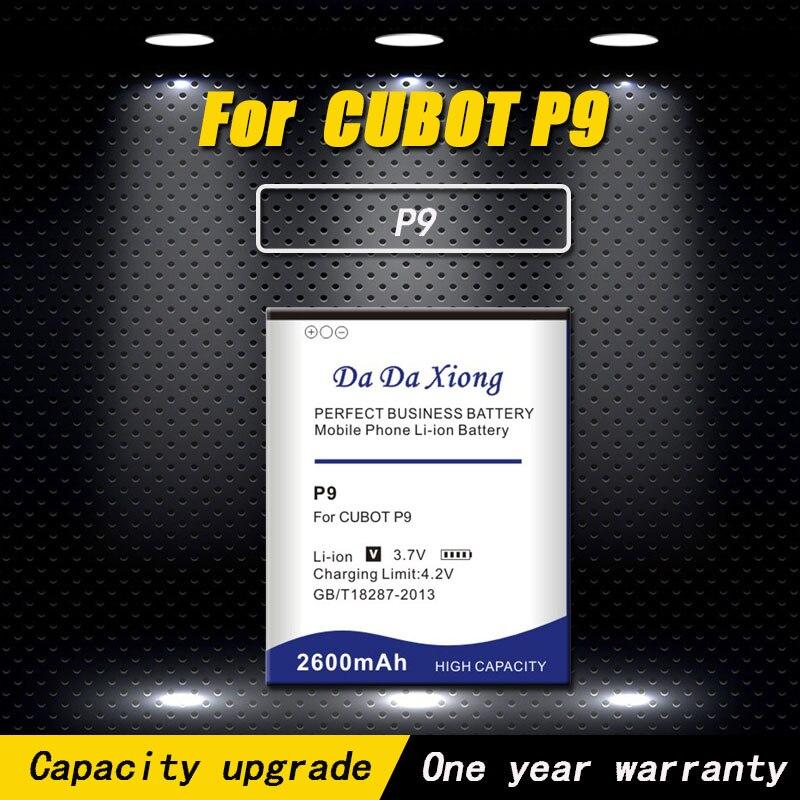 Nueva batería de teléfono móvil de alta calidad 2600mAh P9 para la batería del teléfono CUBOT P9