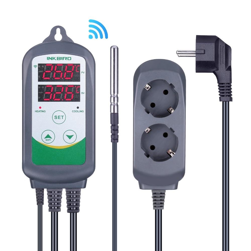 Inkbird ITC-308 واي فاي الرقمية متحكم في درجة الحرارة الاتحاد الأوروبي نسخة منفذ ترموستات الأجهزة المنزلية تفقيس إنذار درجة الحرارة. التحكم