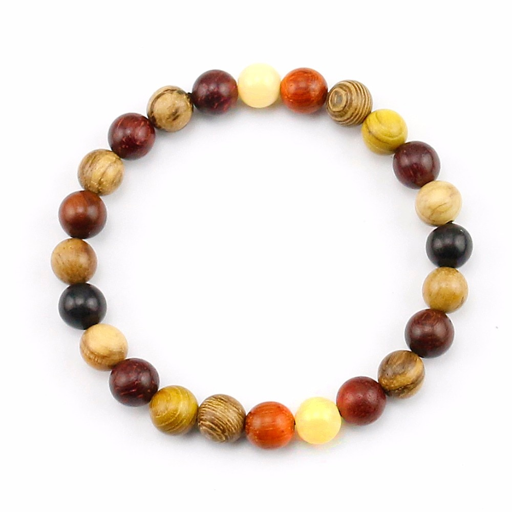 Pulsera con cuentas de madera color marrón y negro Natural Mix para mujer y hombre, accesorios de joyería, brazalete elástico hecho a mano de madera Unisex