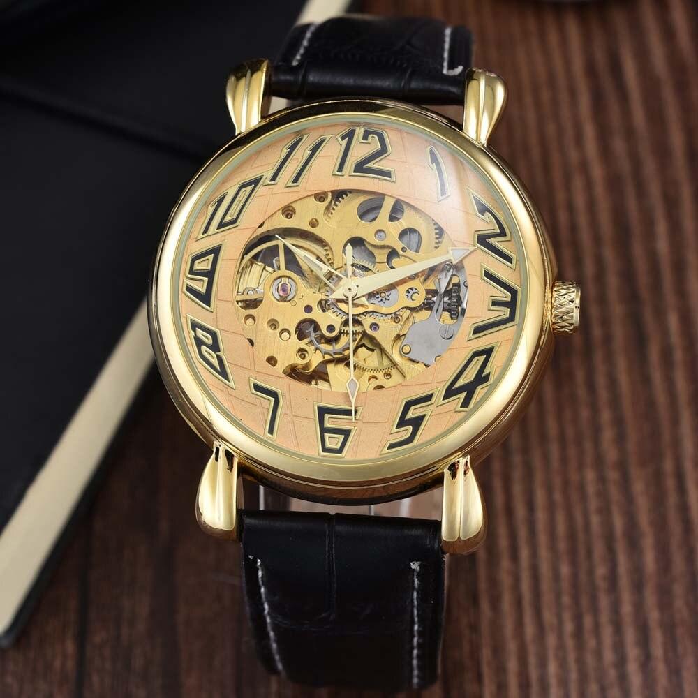 Luxury Brand Automatic Watches Men Fashion Sports Skeleton Mechanical Watches Men Wrist Watch PU Leather relogio masculino GOER