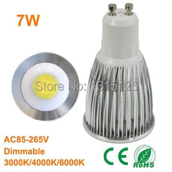 10PCS/lot dimmable 110V/ 220V GU10 COB Warm White spotlight , 7W 3000K/4000K/6000K lighting bulb lamps + free shipping