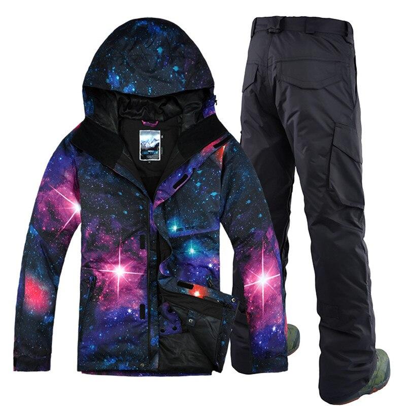 GSOU SOWN, nueva de Corea, traje de esquí transpirable impermeable a prueba de viento, doble tabla, cielo estrellado, traje de esquí masculino, nuevo