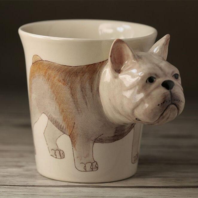 Criativo Chá canecas 3D Buldogue Dos Desenhos Animados do elefante de cerâmica caneca de leite xícara de café decoração da casa sala de artesanato decoração de porcelana copo animais
