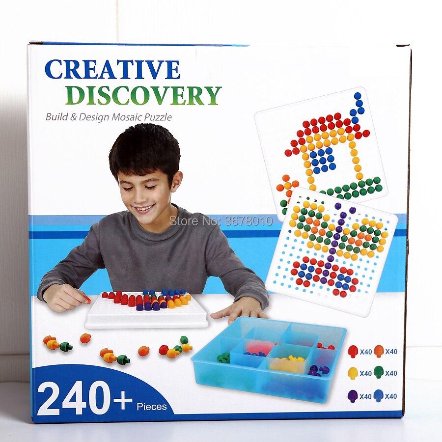 Rompecabezas de mosaico, rompecabezas, uñas de seta, juego de construcción, juego de guardería Diy, juguetes educativos creativos para niños