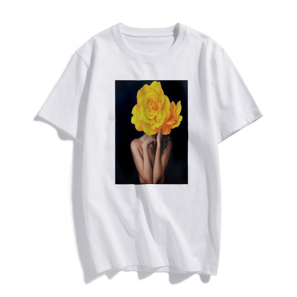 Camiseta de manga corta a la moda Moda Nórdica flores amarillas sexis Harajuku estética impresa 100% Camiseta de algodón camiseta Casual
