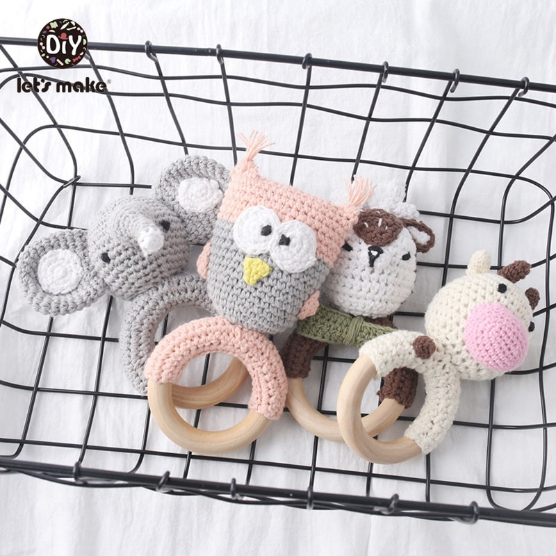 Baby Rattle Crochet Pattern Elephant 1pc With Bell Baby Toys Montessori Teething Rattle Amigurumi Children's Toys Let's Make baby toys 1set crochet amigurumi elephant owl rattle bell custom newborn pacifier clip montessori toy educational baby rattle
