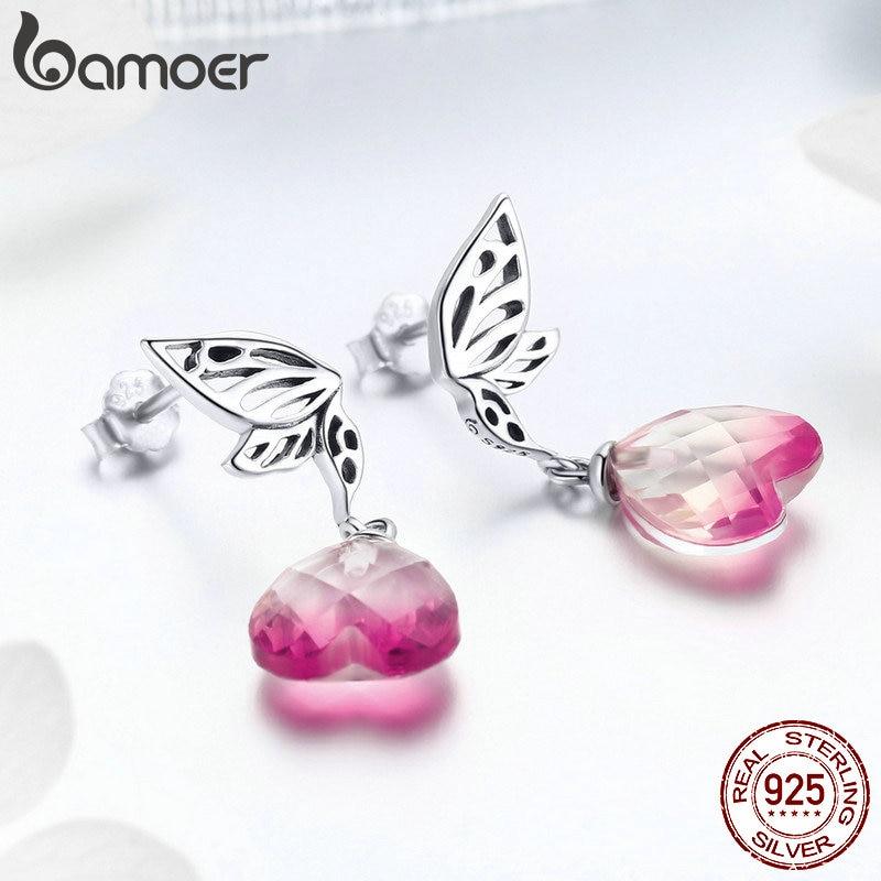 BAMOER, recién llegado, Plata de Ley 925, alas de esperanza, pendientes de gota de corazón de cristal rosa para mujeres, joyería de compromiso de boda GAE015