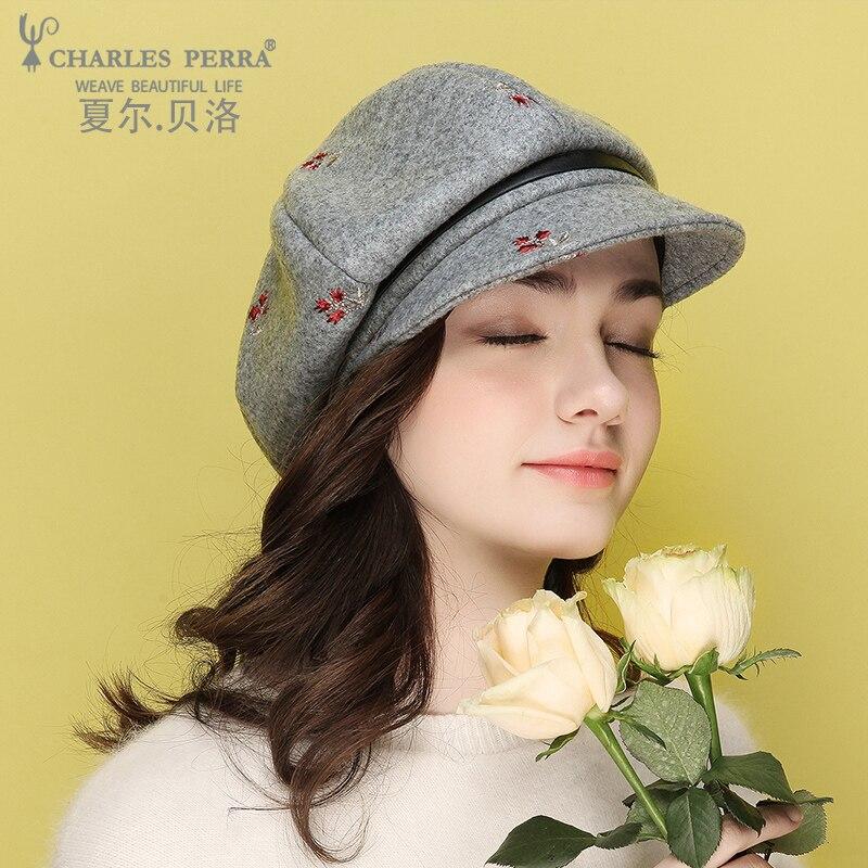 Charles Perra Brand Women Hats Autumn New Korean Version Beret Fashion Lady Caps Elegant Octagonal Hat 1269