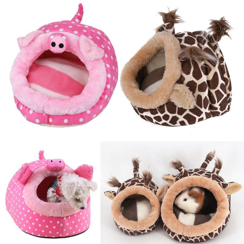Linda mascota jaula para Hamster, Guinea cerdo casa Cama de ardilla, de Chinchillas nido Cavy Mini animales Hamster accesorios Rosa leopardo