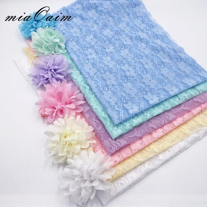 6PCS/Lot 80*50cm Streched Lace Wraps Swaddle Wraps Shawls Receiving Blanket Newborn Baby Photography Props Infant Fotografia