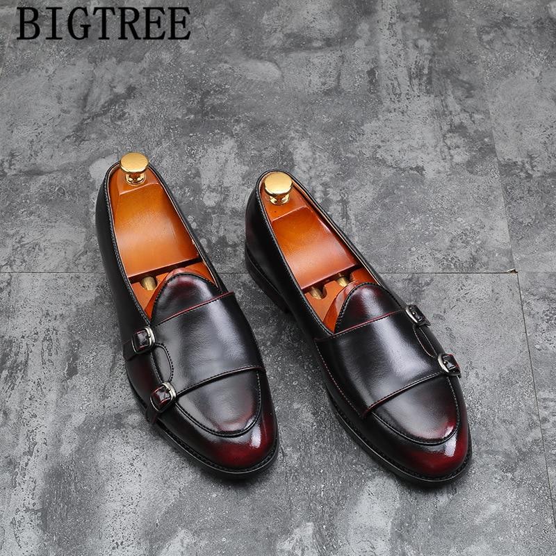 Duplo monge tira sapatos mocassins da marca italiana homens formais sapatos de couro tamanho grande sapatos de couro homens elegantes sepatu deslizar sobre pria