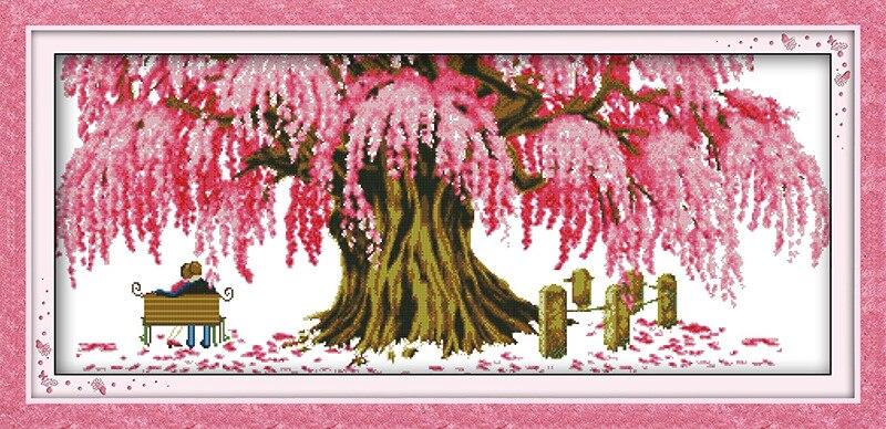 Mirando hacia adelante a felicidad árbol lienzo impreso DMC contado punto de cruz Kits impreso de punto de cruz de costura bordado