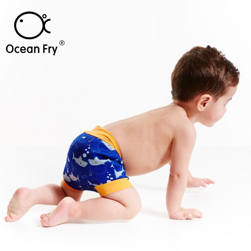 Baby Cartoon Leak Proof Pants Swimming Nappies For Toddler Infant High Waist Swim Pants Reusable Diapers Baby Boy Girl Swimwear