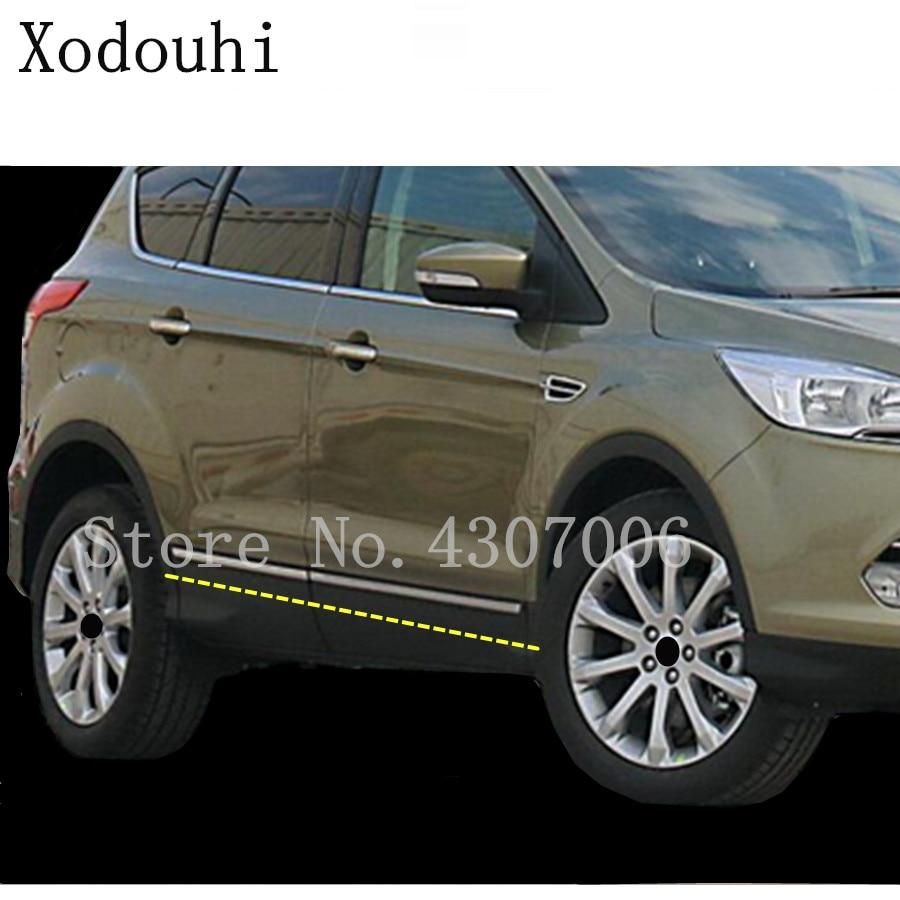 Para Ford Kuga 2013 2014 2015 2016, tira embellecedora de puerta de coche moldura de acero inoxidable, panel de lámpara de corriente, capó parachoques, 4 Uds